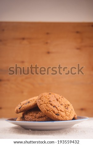 Oats cookies on plate - stock photo