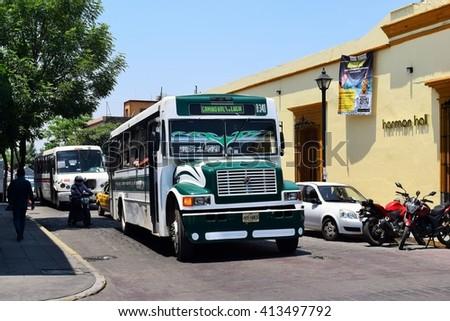 Oaxaca Mexico - 29/04/2016 - Local bus at Oaxaca town Mexico - stock photo
