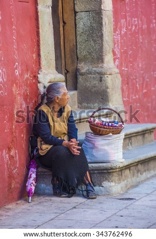 OAXACA , MEXICO - NOV 02 : A street vendor in Oaxaca Mexico on November 02 2015. the Historic Center of Oaxaca is an UNESCO World Heritage Site since 1987