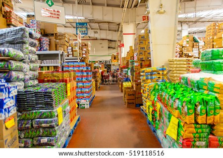 OAXACA, MEXICO - NOV 1, 2016: Interior of the supermarket Soriana, a Mexican public company and a major retailer in Mexico with more than 824 stores