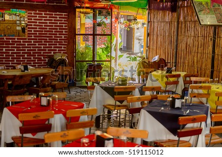 OAXACA, MEXICO - NOV 1, 2016: Tables in the Restaurant La Choza del Chef in Oaxaca, the place with national Mexican food