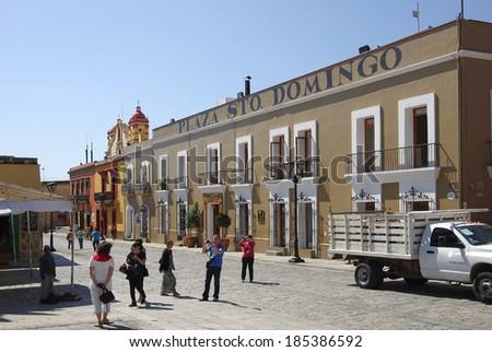 OAXACA - NOVEMBER 28: Street of Oaxaca on November 28, 2011 Mexico. Typical street in colonial Oaxaca, Mexico. - stock photo