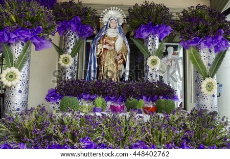 OAXACA, OAXACA, MEXICO- MARCH 21, 2016: Our Lady of Juquila. Altar with flowers. Oaxaca, Mexico - stock photo