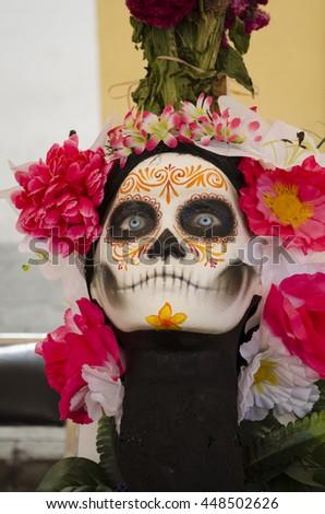 OAXACA, OAXACA, MEXICO- NOVEMBER 2, 2015: Traditional catrina head in Oaxaca, Mexico - stock photo