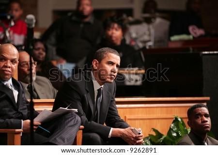 Obama listens - stock photo