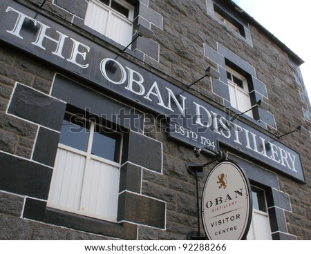OBAN, SCOTLAND - NOVEMBER 14: Oban Distillery, one of Scotland's oldest and smallest producers of single malt whisky on November 14, 2011 in Oban, Scotland. - stock photo