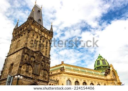 Obecni Dum (Municipal House) and Prasna Brana (Powder Tower) in prague - stock photo