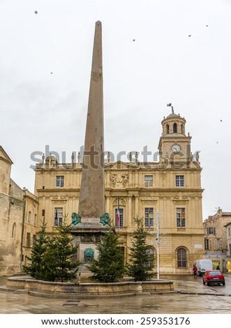 Obelisk on the Place de la Republique in Arles, France - stock photo