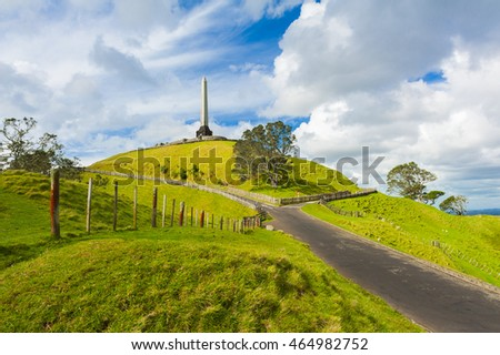Obelisk on the summit of the One Tree Hill reminds of signing the Treaty of Waitangi, the treaty of the Maori people with the British Empire. Auckland, New Zealand
