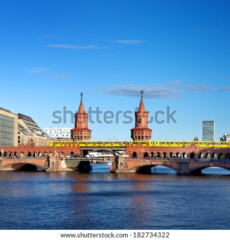 oberbaum bridge and river spree in berlin germany - stock photo