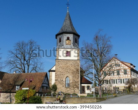 Oberderdingen village,known village in Germany candlemass fair - stock photo
