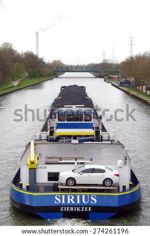 OBERHAUSEN, GERMANY - 11April 2015 Rivership with coal