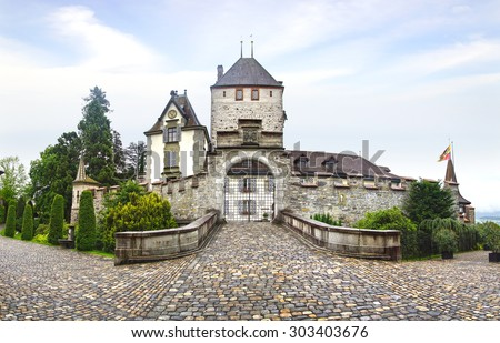 OBERHOFEN, SWITZERLAND- JUNE 15, 2015: Oberhofen Castle. In 1952 it became a part of the Historical Museum of Bern and two years later they opened a branch in the castle.                       - stock photo