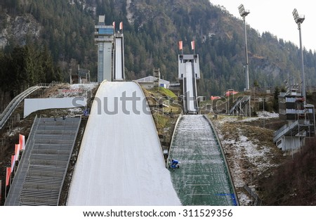 Oberstdorf, Germany - December 24, 2015: View of the ski jumping stadium Erdinger Arena in winter time. - stock photo