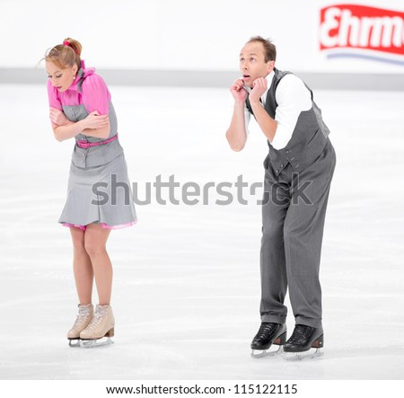OBERSTDORF, GERMANY - SEPT 27: Ice dancers Nelli Zhiganshina and Alexander Gazsi of Germany perform their short dance at Nebelhorn Trophy for figure skating, September 27, 2012 in Oberstdorf, Germany