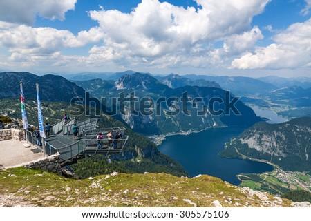 Obertraun, Austria - June 27, 2014: Five Fingers viewing platform at Dachstein Mountains. A famous tourist destination for hikes in Salzkammergut / Salzburger Land. - stock photo