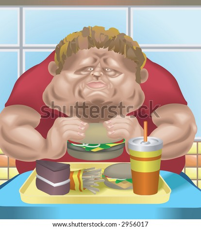 Obese man in fast food restaurant An obese man in fast food restaurant consuming junk food.  Raster version - stock photo