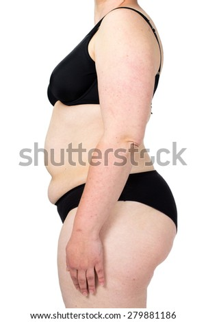 Obese neglected body isolated over white background. Woman showing her fat body. Healthy lifestyles concept. - stock photo
