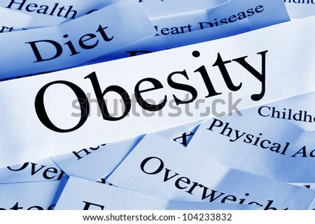 Obesity concept with related subjects. - stock photo