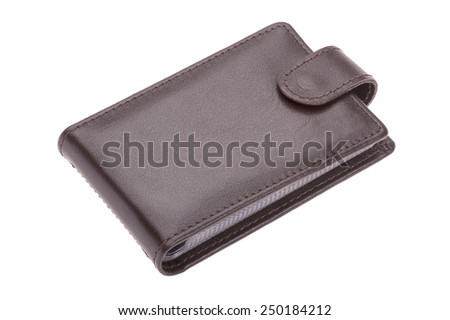 object isolated on white - brown leather purse - stock photo