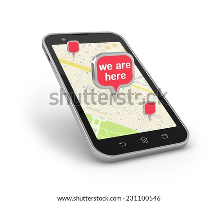 Object location on map, mobile navigation. Smartphone with 3d pin over white.