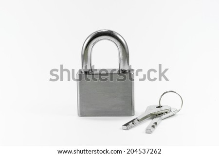 Object Metal lock and key on white background