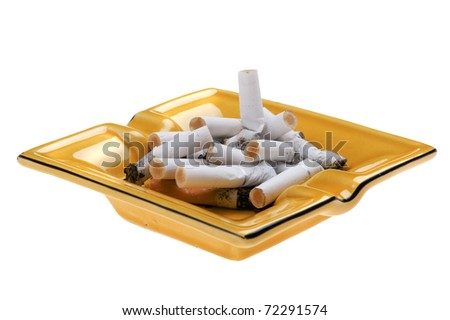 object on white - ashtray with cigarette butts - stock photo