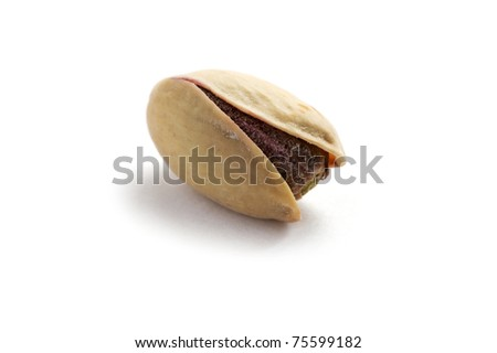 object on white - food pistachios close up