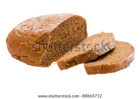 object on white - food rye bread - stock photo