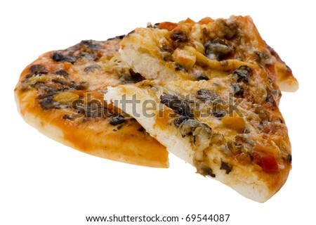 object on white - food sliced pizza