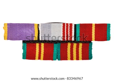 object on white - Military awards close up - stock photo