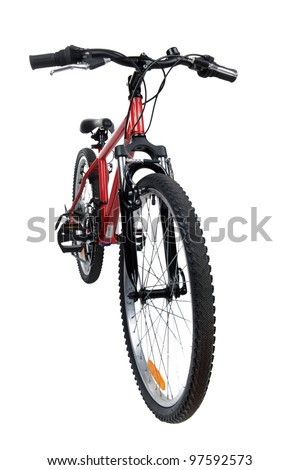 object on white - new bicycle close up - stock photo