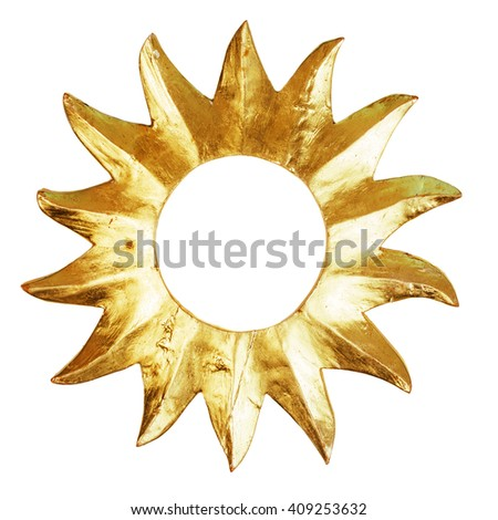 Object shaped as the sun isolated on white - stock photo