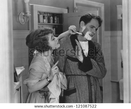 Objecting to a shave - stock photo