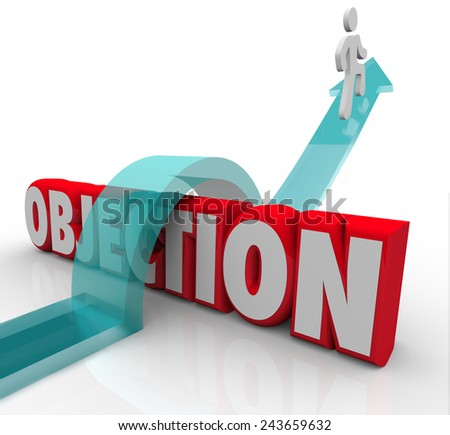 Objection word in 3d letters and a man jumping over it on an arrow to illustrate overcoming a challenge, rejection or disapproval - stock photo