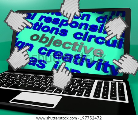Objective Laptop Screen Meaning Purpose Goal And Target - stock photo