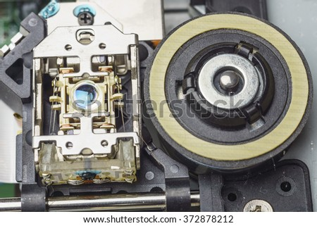 Objective lens and spindle assembly of a computer cd-rom drive, macro shot - stock photo