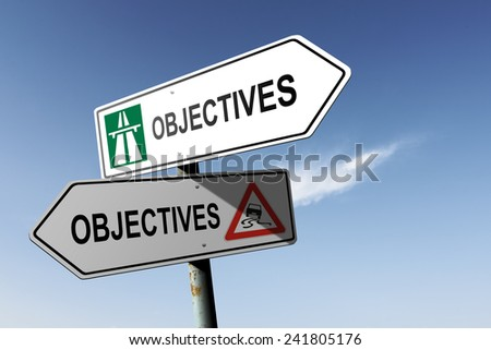 Objectives directions. Choice for easy way or hard way. - stock photo