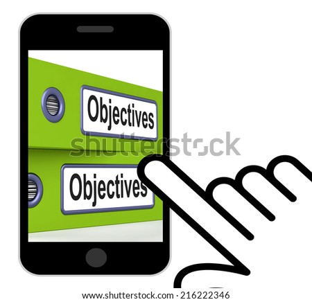 Objectives Folders Displaying Business Goals And Targets - stock photo