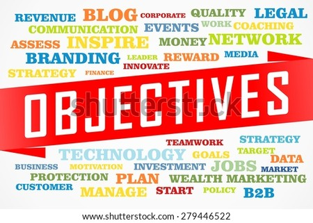 objectives word collage concept on red line