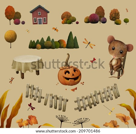 Objects and elements for autumn illustration.  - stock photo