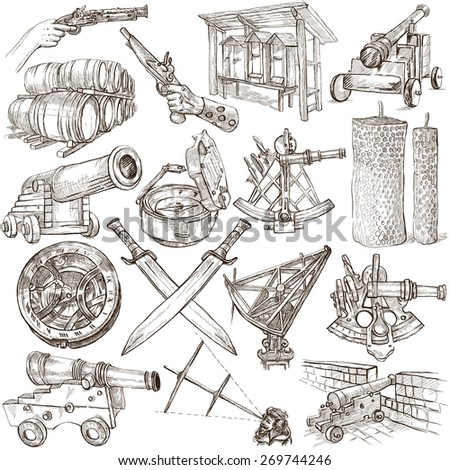 OBJECTS - Collection (no.4) of an hand drawn illustrations. Description - Full sized hand drawn illustrations, freehand sketches, drawing on white background. - stock photo