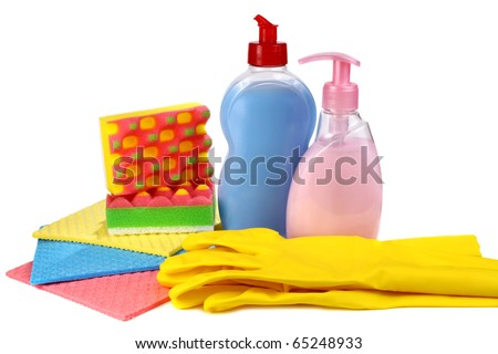 objects for washing and cleaning up on a kitchen - stock photo