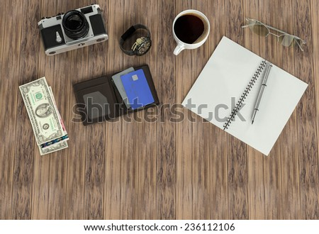 Objects of explorer on wood background. Mockup business template. High resolution. - stock photo