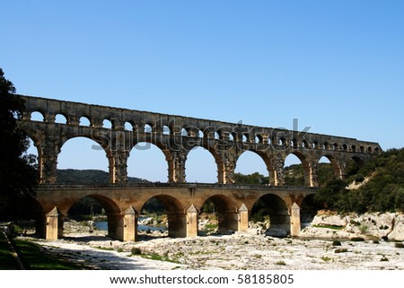 Oblique view of the Roman Aqueduct over the River Gard, France.