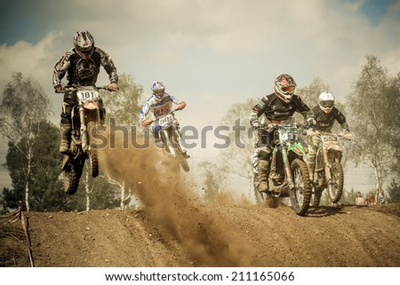 OBORNIKI, POLAND - AUGUST 10: Polish Western Zone Motocross Championship Round VII Poland, Oborniki  10 August 2014 - stock photo