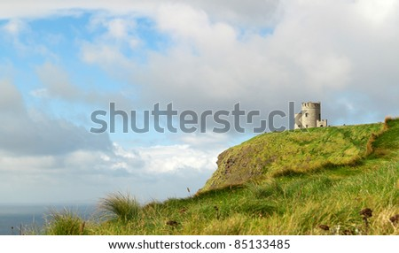 OBriens Tower on Cliffs of Moher - stock photo