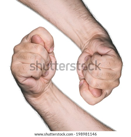 Obscene gestures. Two figs isolated on white background. - stock photo