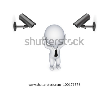 Observation cameras and stressed 3d small person.Isolated on white background. - stock photo
