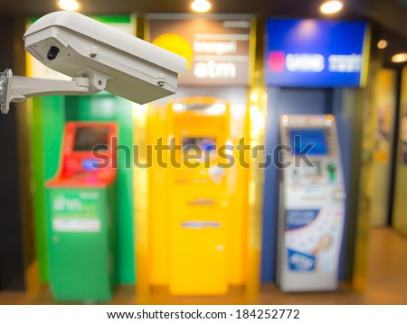 Observation cctv cameras and ATM machine - stock photo